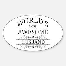 World's Most Awesome Husband Sticker (Oval)