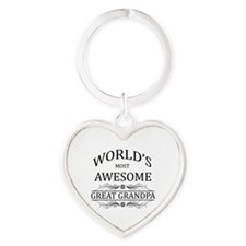World's Most Awesome Great Grandpa Heart Keychain