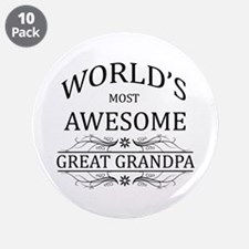"""World's Most Awesome Great Grandpa 3.5"""" Button (10"""