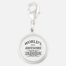 World's Most Awesome Grandson Silver Round Charm