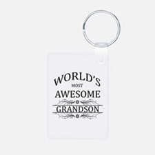 World's Most Awesome Grandson Aluminum Photo Keych