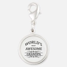 World's Most Awesome Grandpa Silver Round Charm