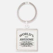 World's Most Awesome Grandpa Square Keychain