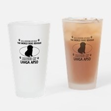 Lhasa Apso Dog breed designs Drinking Glass