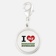 I love my Hungarian Husband Silver Round Charm