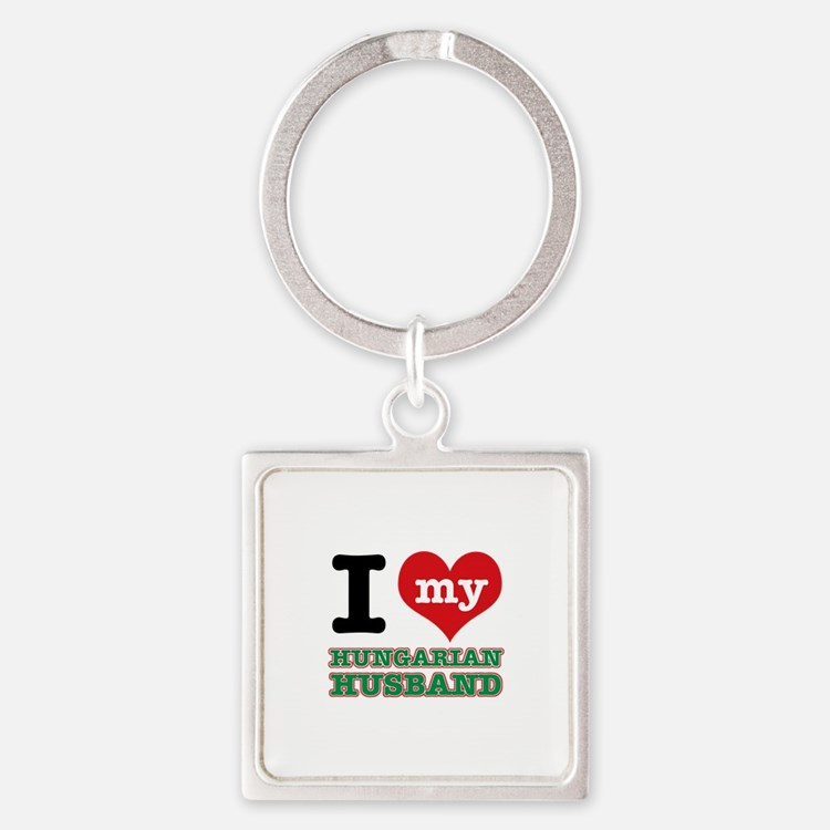 I love my Hungarian Husband Square Keychain
