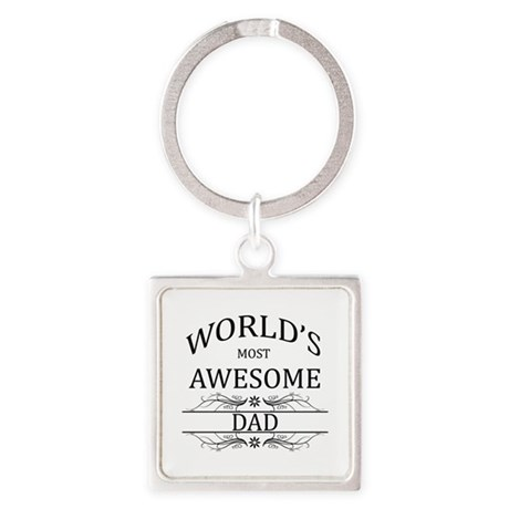 World's Most Awesome Dad Square Keychain