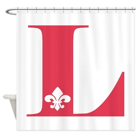 L fleur de lis letter shower curtain by claverie - Fleur de lis shower curtains ...