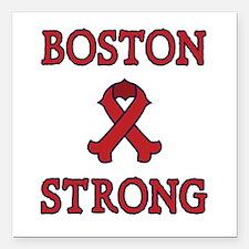 "Boston Strong Ribbon Square Car Magnet 3"" x 3"""