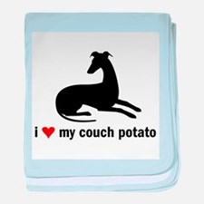 I Love my Couch Potato Whippet baby blanket