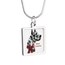 Great Dane Christmas Silver Square Necklace