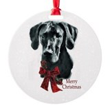 Black great dane Round Ornament