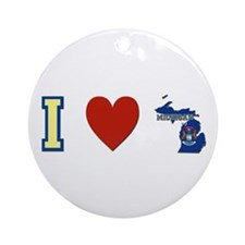 I Love Michigan Ornament (Round)