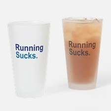 Running Sucks Blue Drinking Glass
