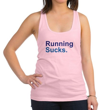 Running Sucks Blue Racerback Tank Top