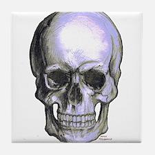 Skull on light background Tile Coaster