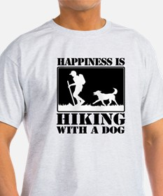 Happiness is Hiking with a Dog T-Shirt
