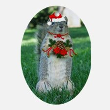 Christmas Squirrel Ornament (Oval)