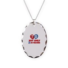 70 year old designs Necklace Oval Charm