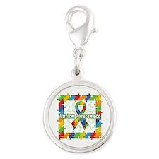 Square Autism Puzzle Ribbon Silver Round Charm