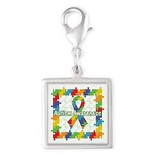 Square Autism Puzzle Ribbon Silver Square Charm