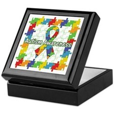 Square Autism Puzzle Ribbon Keepsake Box