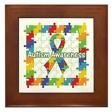 Square Autism Puzzle Ribbon Framed Tile