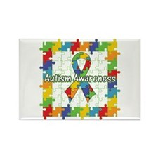 Square Autism Puzzle Ribbon Rectangle Magnet