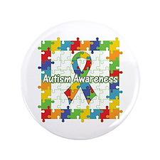 """Square Autism Puzzle Ribbon 3.5"""" Button (100 pack)"""
