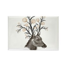 Deer with Flowers Rectangle Magnet