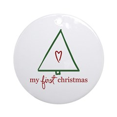 My First Christmas (Gift) Ornament (Round)