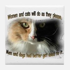 Women and Cats Tile Coaster