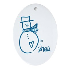 Let it Snow Oval Ornament