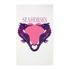 Seahorses pink hart 3'x5' Area Rug