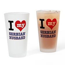 I love my Serbian Husband Drinking Glass