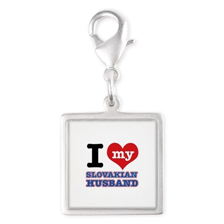 I love my Slovakian Husband Silver Square Charm