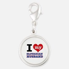 I love my Slovakian Husband Silver Round Charm