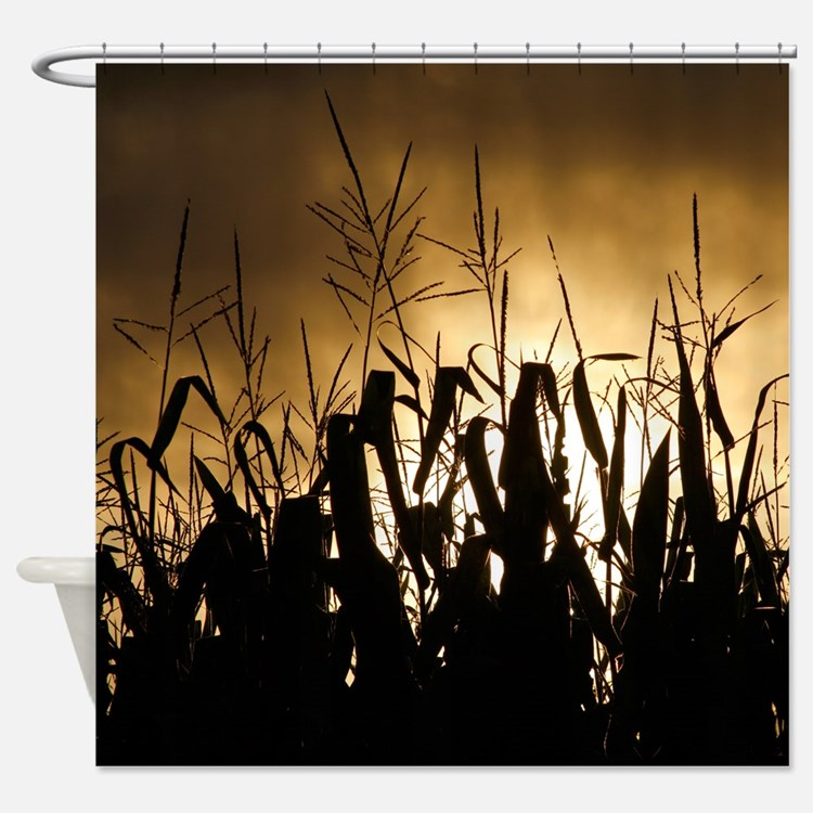 Corn field silhouettes Shower Curtain