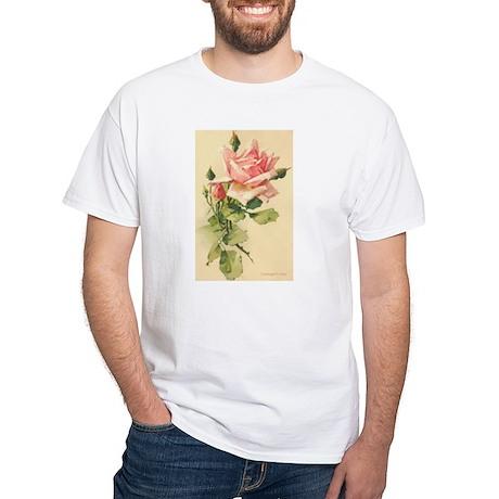 Pink Rose Victorian Flower Vi White T-Shirt