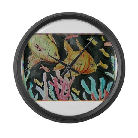 Fish colorful nature art large wall clock by meowries for Fish wall clock