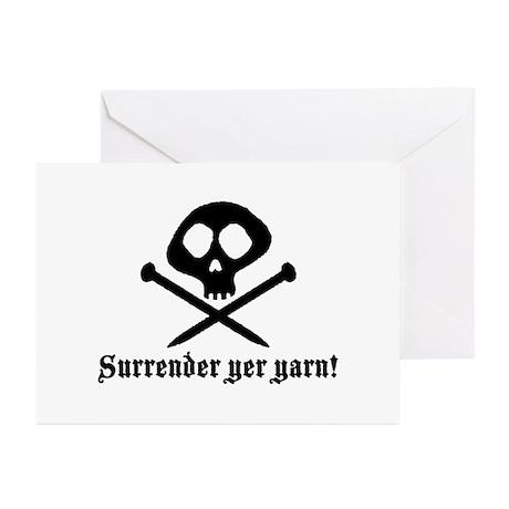 Surrender yer Yarn (yarn pirate) Greeting Cards (P