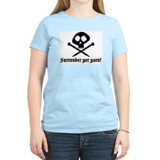 Surrender yer Yarn (yarn pirate) Women's Pink T-Sh