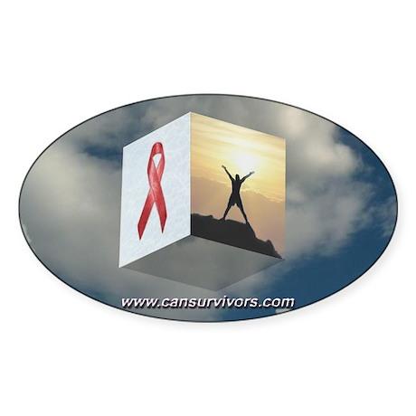 Red Ribbon Oval Sticker