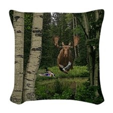 Moose at water hole Woven Throw Pillow