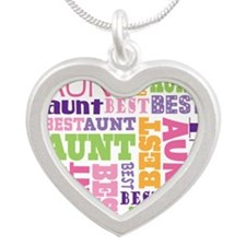 Best Aunt Design Gift Silver Heart Necklace