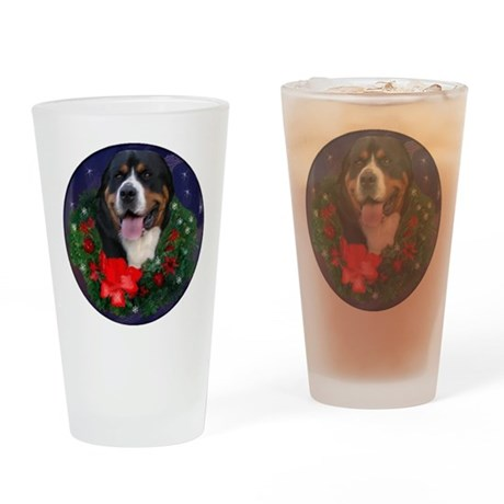 Greater Swiss Mountain Dog Christma Drinking Glass