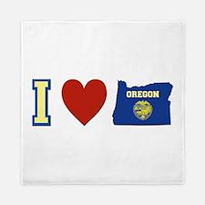 I Love Oregon Queen Duvet