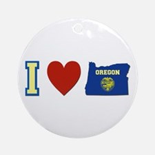 I Love Oregon Ornament (Round)