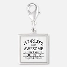 World's Most Awesome Quilter Silver Square Charm