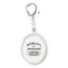 World's Most Awesome Quilter Silver Oval Charm